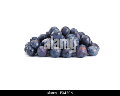 a pile of Blueberrieson on a white background - Stock Image