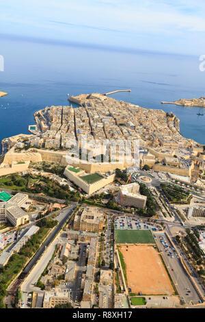 aerial view of Floriana and Fort Saint Elmo, Valletta, Malta - Stock Image