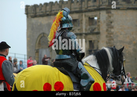 Yellow knight on horseback in front of crowds - Stock Image
