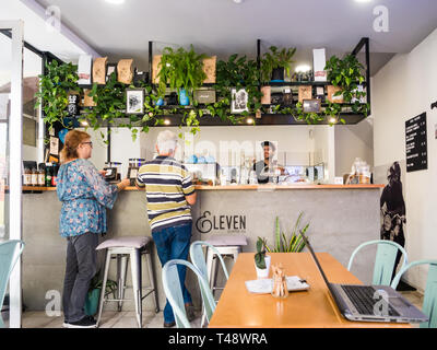 Madeira, Portugal - October 31, 2018: People at Legs Eleven coffee shop  in Funchal, the capital of Madeira, Portugal - Stock Image