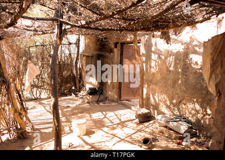The view outside a basic house in a rural Bishnoi village in India. - Stock Image