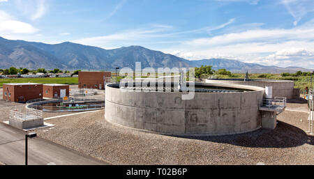 Sanitation Plant, Trickling filters, anaerobic digesters. - Stock Image