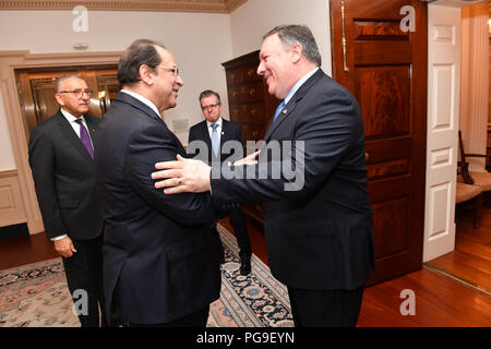Secretary Michael R. Pompeo meets with Egyptian General Intelligence Service Director Abbas Kamil, at the Department of State in Washington D.C on July 25, 2018. - Stock Image