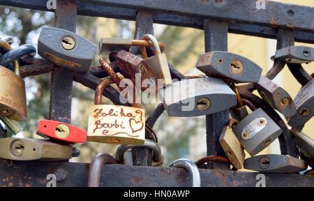 locks on fence - Stock Image