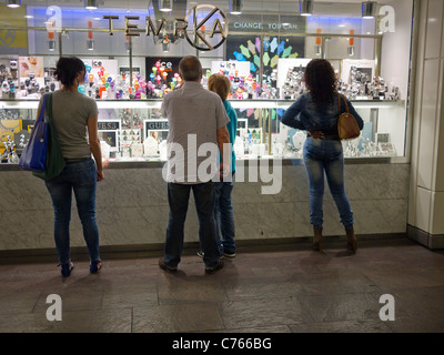 Window shopping in Les Halles Paris France - Stock Image
