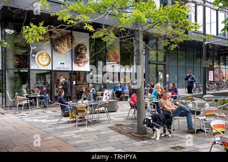 Customers sitting at tables outside Soderberg The Meadows on Middle Meadow walk in Edinburgh, Scotland, UK. - Stock Image