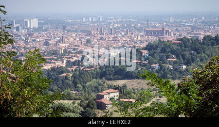 The city of Bologna, Italy, from the Portico di San Luca, on the way to the church of the Madonna di San Luca. - Stock Image