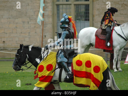 Knight in armour on horseback - Stock Image