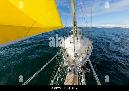 Yacht sailing at Coffin Bay. Australia. - Stock Image