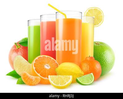Isolated juices. Four glasses of fresh juice and pile of citrus fruits (grapefruit, orange, lemon, lime, tangerine) isolated on white background with  - Stock Image