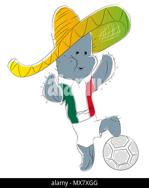 Soccer Mascot for Mexico.  Mexico cactus mascot for football tournaments - Stock Image