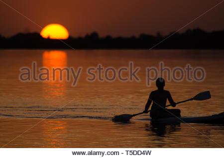 Sunset at the lake - Stock Image