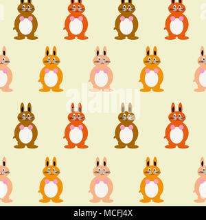 Cute and colorful bunny illustration including multiple warm toned baby rabbits - orange, red and brown bunnies will make anyone smile. - Stock Image