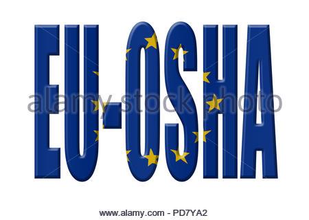 Digital Illustration - EU agency. EU-OSHA European Agency for Safety and Health at Work, Europäische Agentur für Sicherheit und Gesundheitsschutz am A - Stock Image