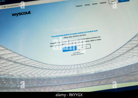 Home page of Wyscout the football analysis website. - Stock Image
