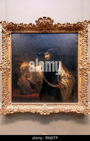 Aristotle with a Bust of Homer, Rembrandt van Rijn, The Metropolitan Museum of Art, Manhattan, New York USA - Stock Image