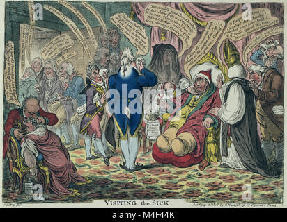 Visiting the sick by James Gillray 1806. Charles Fox sitting in an armchair, obviously ill. On one side of him is - Stock Image