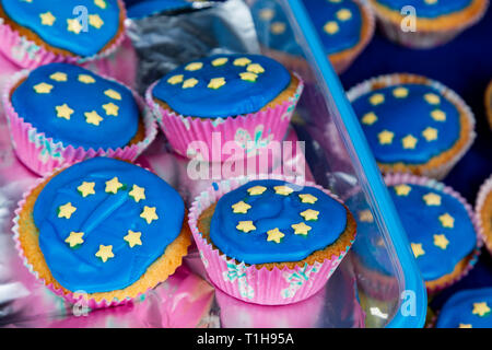 London, UK. 23 March 2019. Brexit cupcakes decorated with the EU flag. Remain supporters and protesters take part in a march to stop Brexit in Central London calling for a People's Vote. - Stock Image