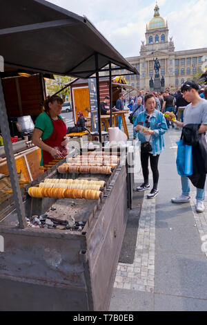 Trdelnik stall, Easter Market, Wenceslas Square, Prague, Czech Republic - Stock Image