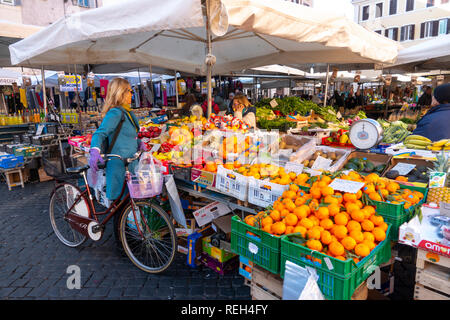 Europe Italy Rome Campo de Fiori  fresh food and produce is sold daily in this square - Stock Image