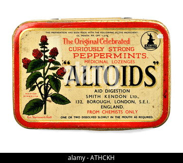 Old Vintage Tin Box of Altoids Smith Kendon Curiously Strong Peppermints Medicinal Lozenges FOR EDITORIAL USE ONLY - Stock Image