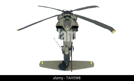 Helicopter in flight, military aircraft, army chopper isolated on white background, rear top view, 3D rendering - Stock Image
