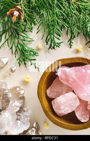 Rose Quartz with Smoky Quartz and Incense Cedar - Stock Image
