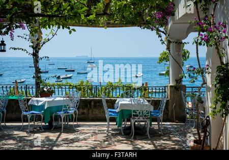 Restaurant at the beach in Positano, Campania, Amalfi Coast, Italy - Stock Image