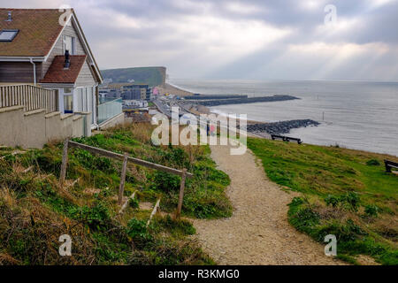 View from coastal path overlooking West Bay in West Dorset UK - Stock Image