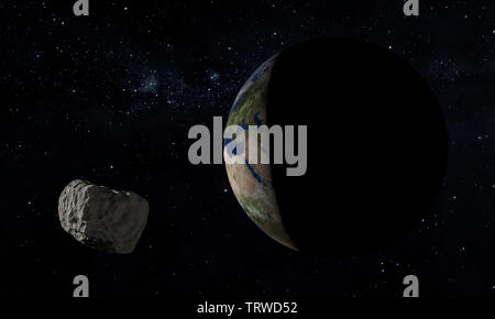 Earth and asteroid. Space theme. 3D illustration. - Stock Image