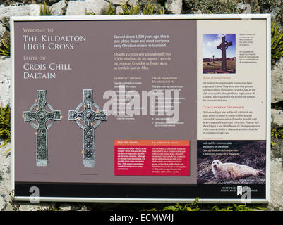 A sign detailing symbols of The Kidalton High Cross - Stock Image
