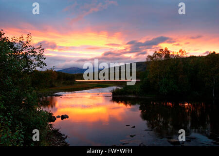 River Kaperelva near Silsand on island Senja in northern Norway at sunset. - Stock Image