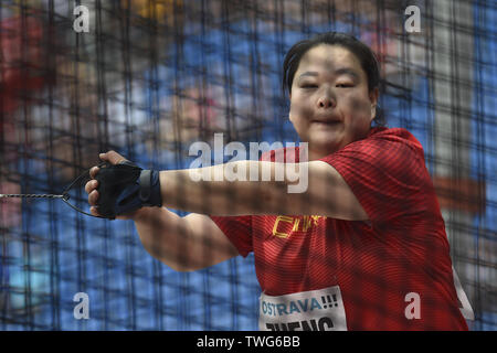 Ostrava, Czech Republic. 20th June, 2019. Wang Zheng (China) competes in hammer throw during the Ostrava Golden Spike, an IAAF World Challenge athletic meeting, in Ostrava, Czech Republic, on June 20, 2019. Credit: Jaroslav Ozana/CTK Photo/Alamy Live News - Stock Image