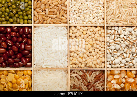 Closeup of different types of grains and beans - Stock Image