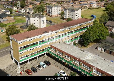 Social housing flats on the outskirts of Southampton UK - Stock Image