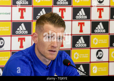 Windsor Park, Belfast, Northern Ireland. 20 March 2019. Northern Ireland captain Steven Davis  at today's press conference in Belfast. Northern Ireland play Estonia at Windsor Park tomorrow  evening in their opening UEFA EURO 2020 Qualifying game. Credit: David Hunter/Alamy Live News. - Stock Image