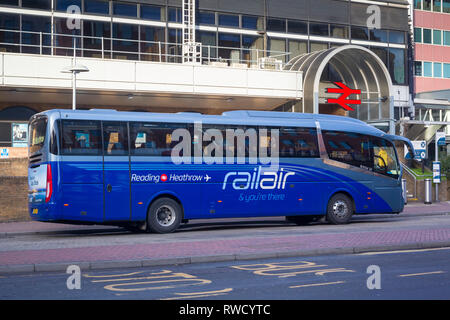 The Reading to Heathrow Railair coach outside Reading Station, Berkshire. - Stock Image