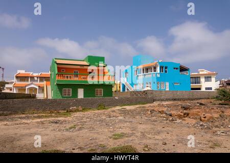 Colourful houses at Baia das Gatas, Sao Vicente, Cape Verde Islands - Stock Image