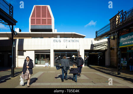 The entrance to the Middlesbrough Bus station from James Cook Square on a sunny windy spring day - Stock Image