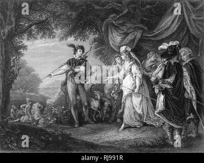 Act IV, Scene I The Princess & her train - Stock Image