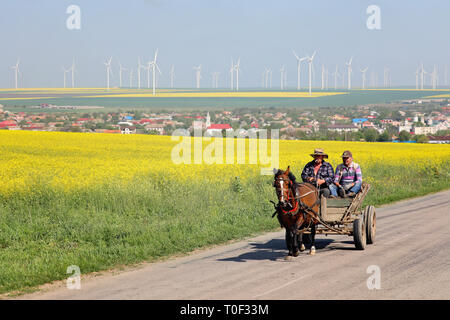 Romania, Dobrogea - May 03 2017: Two men in a horse cart on a rural road in Dobgrogea region. Village and wind farms in background - Stock Image
