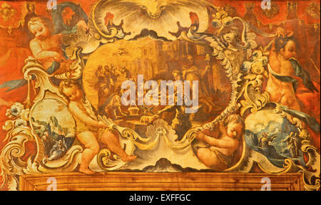 GRANADA, SPAIN - MAY 29, 2015: The baroque paint of The Nativity among the angels in Basilica San Juan de Dios by - Stock Image