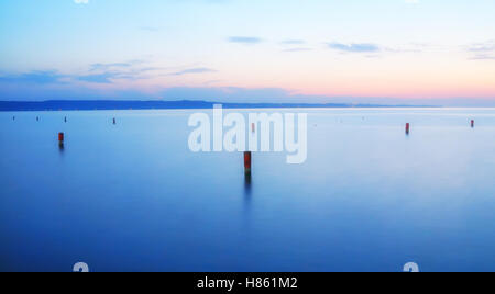 blue sea and sky in the early evening - Stock Image