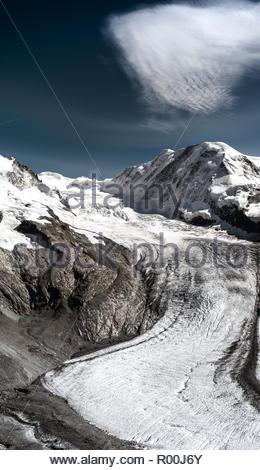 Snow on mountains - Stock Image