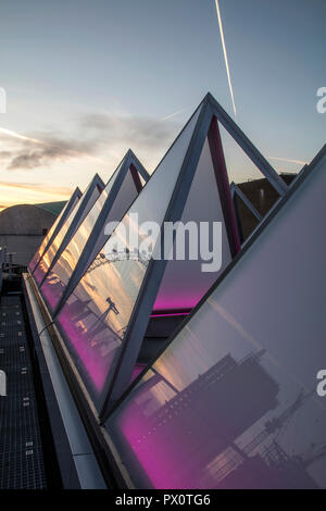 The roof of the newly refurbished Hayward Gallery, a world-renowned contemporary art gallery and landmark of Brutalist architecture on London's South  - Stock Image