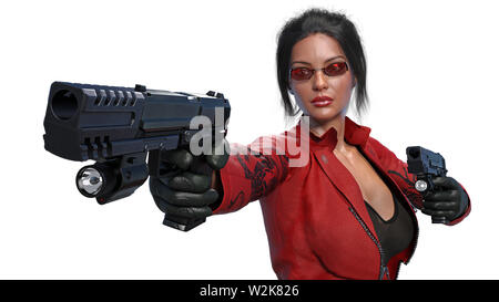Action girl shooting guns, woman in red leather suit with hand weapons isolated on white background, front view, 3D rendering - Stock Image