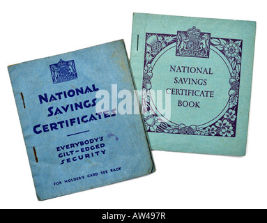National Savings Certificate Books 1940s 1950s EDITORIAL USE ONLY - Stock Image