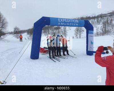 Rv7 190, Vøringsfoss, Norway. 27th Feb, 2016. The last teams finishing in the 2016 version of Expedition Amundsen, - Stock Image