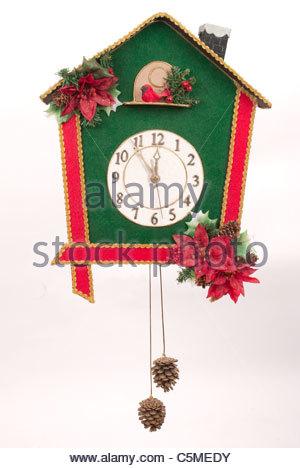 Christmas wall clock - Stock Image
