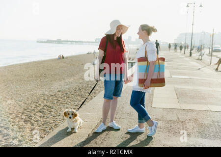 Lesbian couple with dog on sunny beach boardwalk - Stock Image